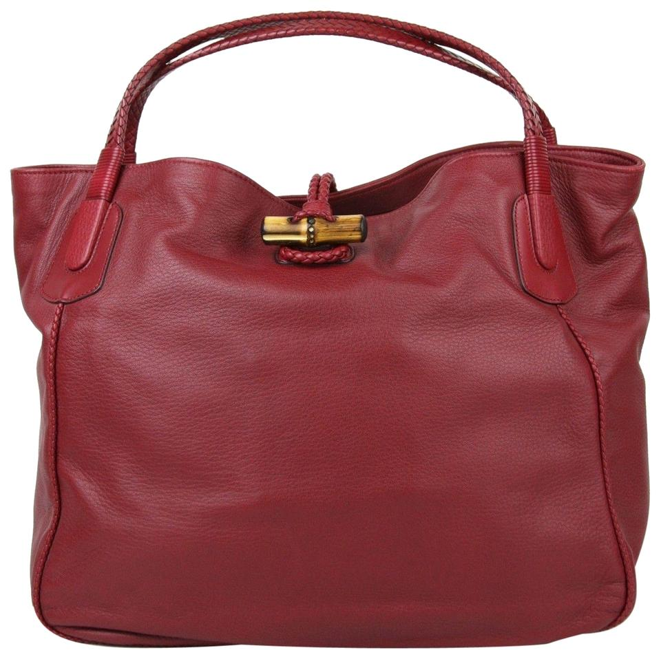 Gucci Soft Large Hip Bamboo Tote 338978 6236 Red Leather Shoulder ... fdcc2e4e66e90