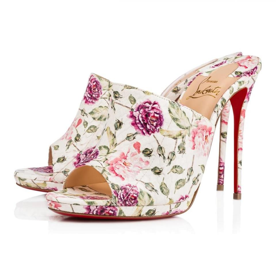 Christian louboutin white pink green purple pigamule 120mm water christian louboutin flower snakeskin classic white pink green purple mules mightylinksfo