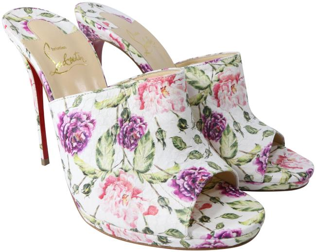Christian Louboutin White Pink Green Purple Pigamule 120mm Water Snake Piori Floral Heels A850 Mules/Slides Size EU 38.5 (Approx. US 8.5) Regular (M, B) Christian Louboutin White Pink Green Purple Pigamule 120mm Water Snake Piori Floral Heels A850 Mules/Slides Size EU 38.5 (Approx. US 8.5) Regular (M, B) Image 1