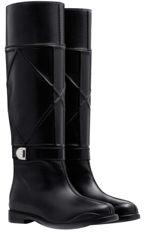 46d74b05232 Dior Black New Archi Cannage Leather Knee High Boots Booties Size EU ...