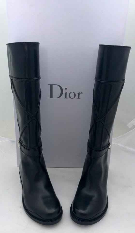 372e74a57f4 Dior Black New Archi Cannage Leather Knee High Boots Booties Size EU 37.5  (Approx. US 7.5) Regular (M