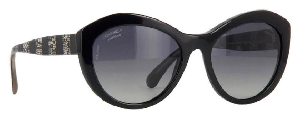 4824db7a49 Chanel Grey Black Silver 5294 Signature Butterfly Lace Tweed Cateye Cc  Oversized Cat Polarized Sunglasses