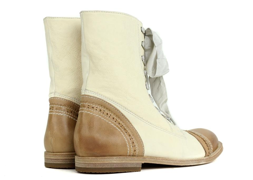 Brown Booties Cucinelli Brunello Up Lace Ivory Leather Boots 4AE00wx1q