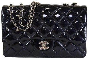 42d7613df295 Chanel Patent Flap Patent 3 Layer 3 Fold Trifold Flap Shoulder Bag. Chanel  Classic Flap Layer Navy Patent Leather ...