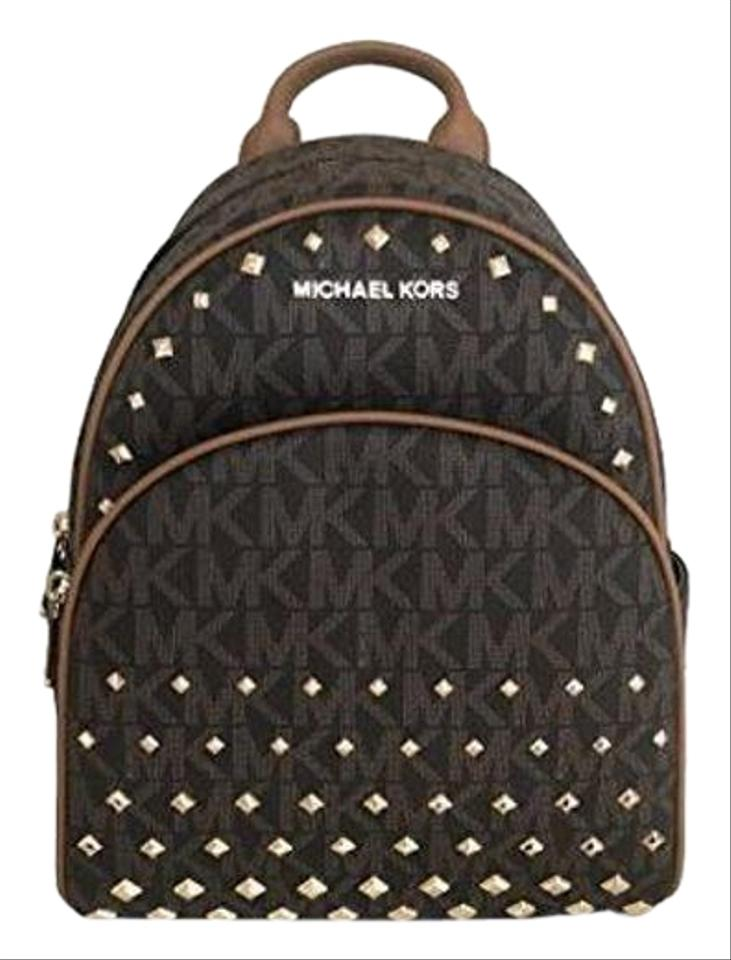 273fe826b7 Michael Kors Abbey Medium Mk Signature Studded Brown Accron Leather ...