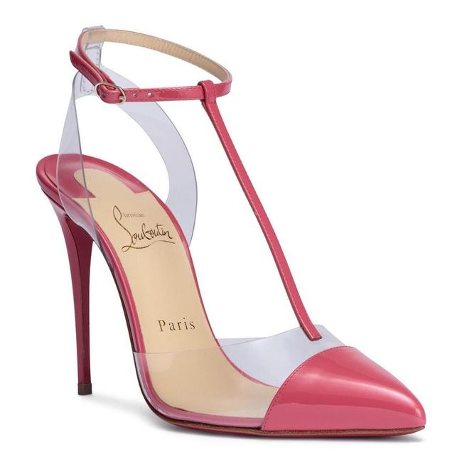 Christian Louboutin Pink Nosy Begonia 100mm T Strap Pvc Clear Coral Heels A857 Pumps Size EU 38 (Approx. US 8) Regular (M, B) Christian Louboutin Pink Nosy Begonia 100mm T Strap Pvc Clear Coral Heels A857 Pumps Size EU 38 (Approx. US 8) Regular (M, B) Image 1
