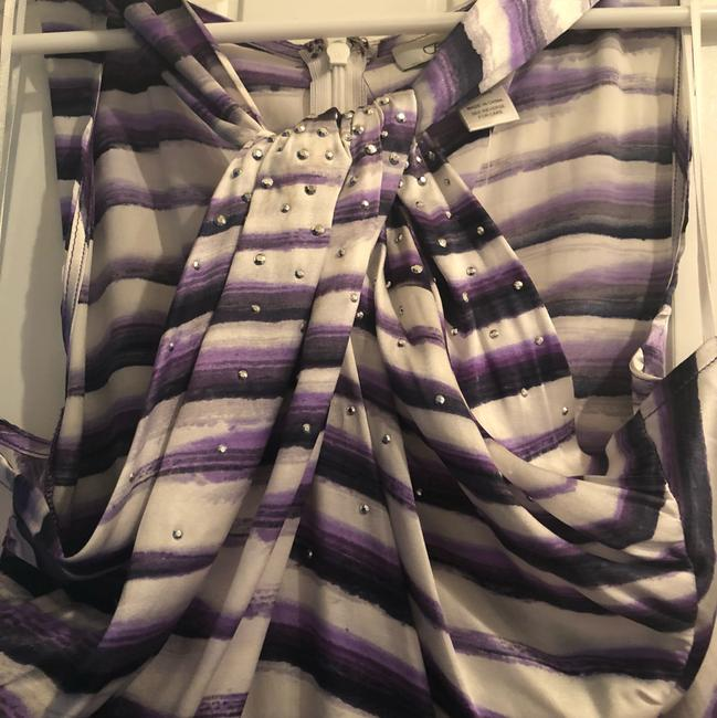 Cache Night Out Silk purple & white Halter Top Image 1