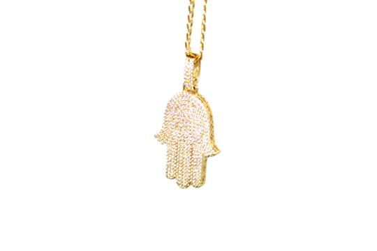 Other 14K Yellow Gold CZ Hamsa Charm With Two-Tone Cuban Link Image 1