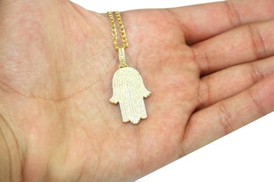 Other 14K Yellow Gold CZ Hamsa Charm With Two-Tone Cuban Link Image 2