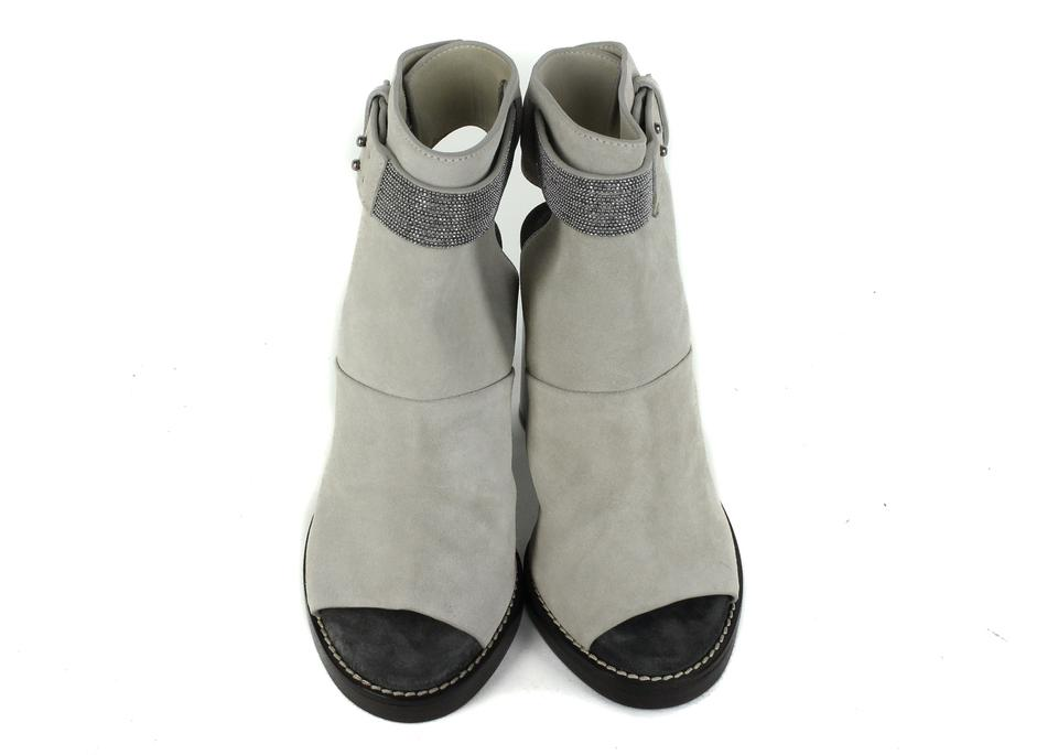 Toe Grey Suede Peep Brunello Pumps Cucinelli Monili FOcqznz1CW