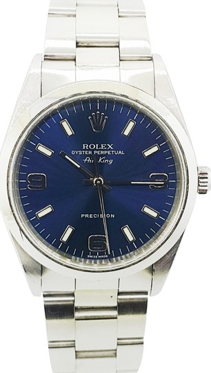 Preload https://img-static.tradesy.com/item/23821602/rolex-blue-air-king-precision-stainless-steel-dial-34mm-unisex-watch-0-1-540-540.jpg