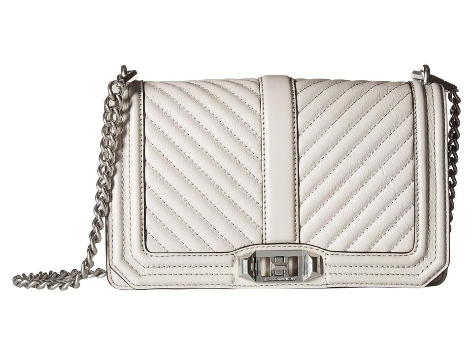 fd943a77ea Rebecca Minkoff Chevron Quilted Putty Love White Light Gray Leather Cross  Body Bag