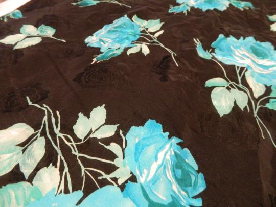 Dior Dior Scarf with Blue and Black Flowers Image 2