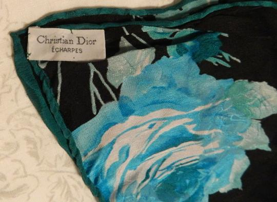 Dior Dior Scarf with Blue and Black Flowers Image 3