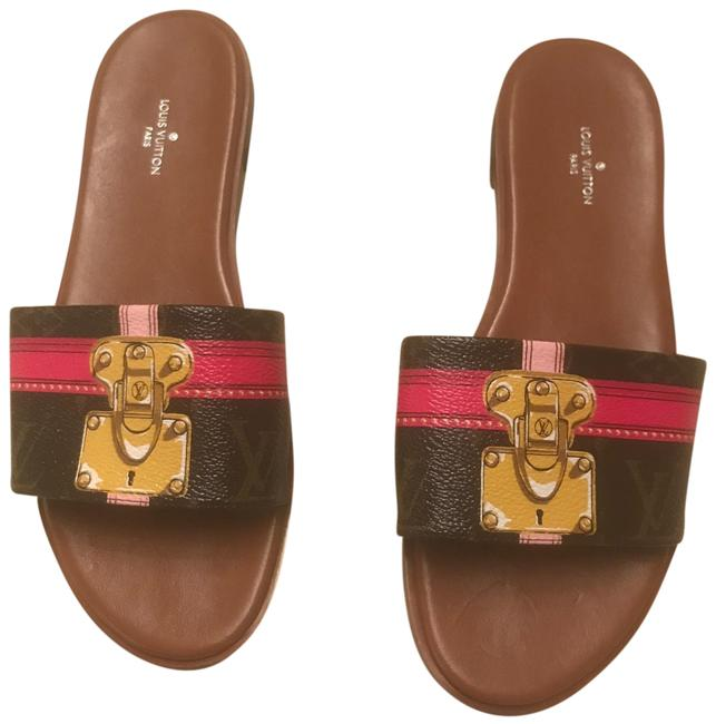 Item - Brown Hot Pink Lock It Flat Mule 2018 Sold Out Sandals Size EU 37 (Approx. US 7) Narrow (Aa, N)