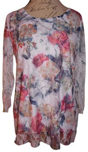 Keren Hart Lace Sleeves Sheer Sleeves Flowers Stretchy Top White, Pink, Red, Blue