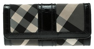 Burberry Beat Check Nylon and Patent Leather Penrose Continental Wallet