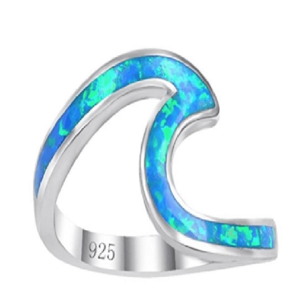 d10e1ab09602a Blue Sterling Silver Opal Wave - Multiple Sizes Ring