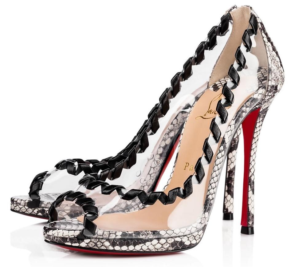 new style 9ddb8 f80a5 Christian Louboutin Latte White Clear Hargaret 120mm Pvc Black Snakeskin  A864 Pumps Size EU 40 (Approx. US 10) Regular (M, B) 35% off retail