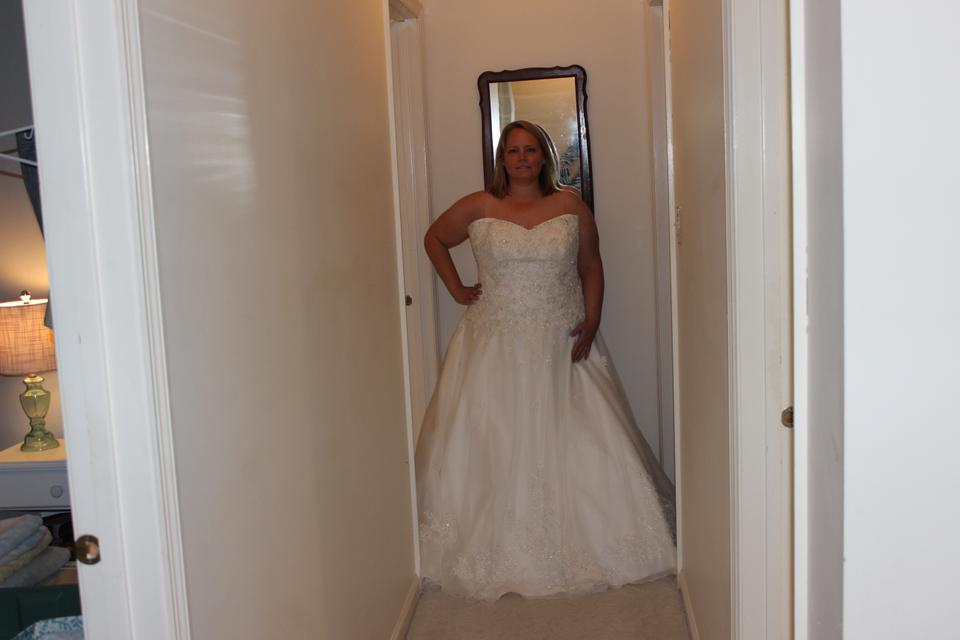 Stella York Ivory Tulle Organza With Diamante Adorned Lace Lliques 5833 Formal Wedding Dress Size