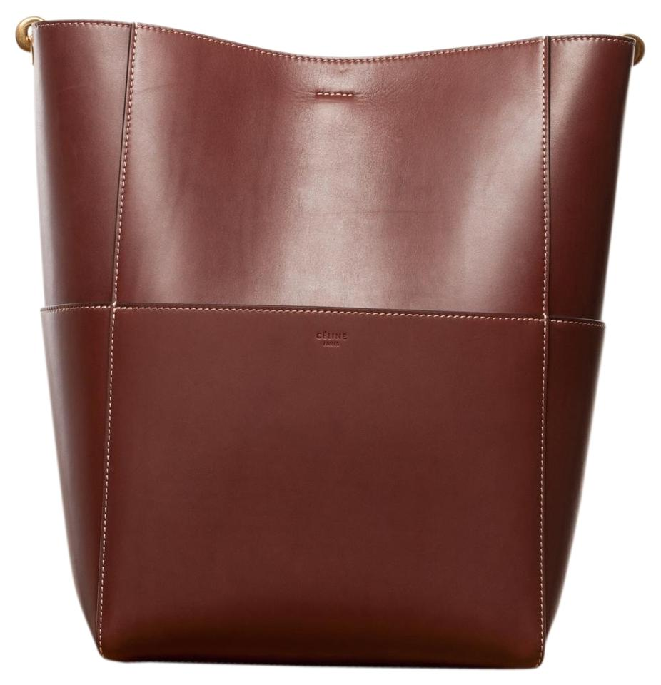 Burgandy Céline Shoulder Wool with Leather Tote Grained Calfskin Strap Sangle In UqCgO8