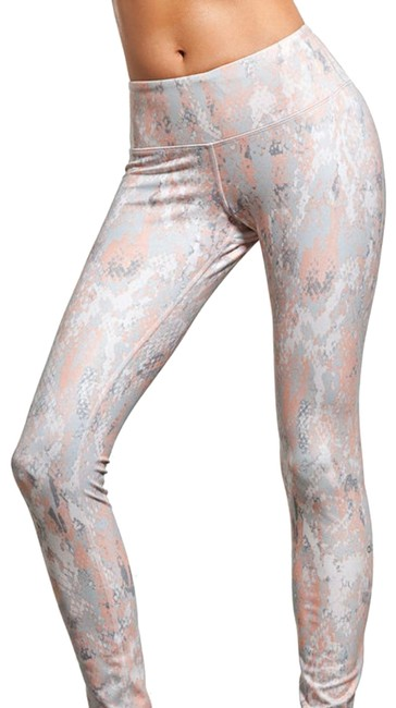 "Item - Silver White Peach ""Viper"" Pattern Airbrush Slimming and Very Stylish Activewear Bottoms Size 0 (XS)"