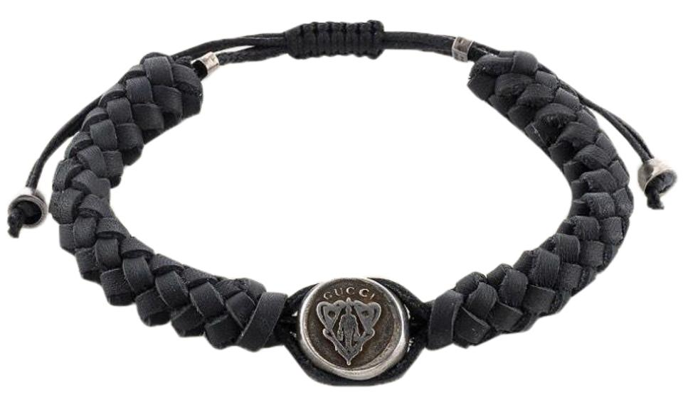 Gucci Black And Brown Woven Leather Sterling Silver Bracelet Tradesy