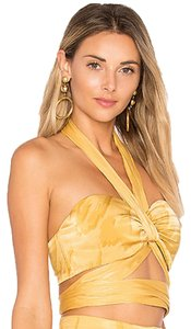 House of Harlow 1960 Boho Cutout Halter Hippie Vintage Top Yellow Feather