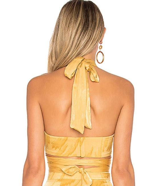 House of Harlow 1960 Boho Cutout Halter Hippie Vintage Top Yellow Feather Image 3