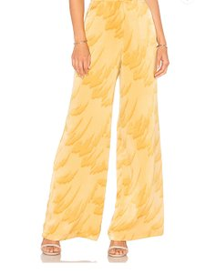 House of Harlow 1960 Bohochic Hippie Vintage Wide Leg Pants Yellow Feather