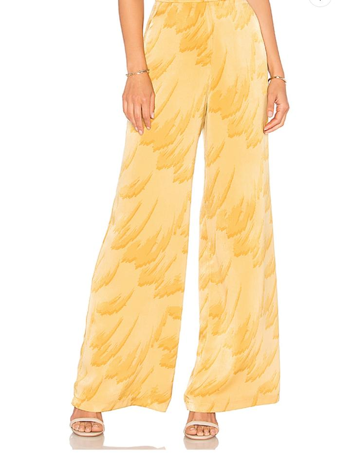 f4967f8c8aee House of Harlow 1960 Bohochic Hippie Vintage Wide Leg Pants Yellow Feather  Image 0 ...