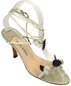 Manolo Blahnik Rose Wraparound Lace Up Floral gold Sandals