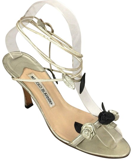 Manolo Blahnik Rose Wraparound Lace Up Floral gold Sandals Image 0