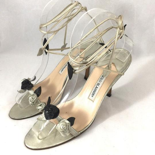 Manolo Blahnik Rose Wraparound Lace Up Floral gold Sandals Image 2