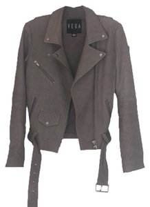 VEDA light grey Leather Jacket