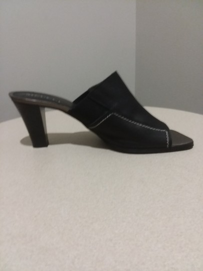 Sesto Meucci Made In Italy Leather Bronze Insole Topstitching Comfortable Black Mules Image 5