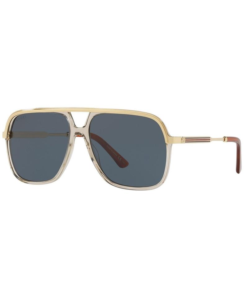 1ad3941f8ab18 Gucci Gucci Sunglasses GG0200S 004 Clear Brown Gold Frame Blue Lenses 57mm  Image 0 ...