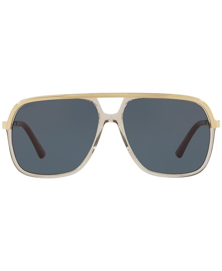 Gucci Gucci Sunglasses GG0200S 004 Clear Brown Gold Frame Blue Lenses 57mm Image 1