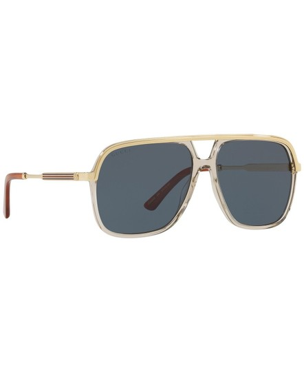 Gucci Gucci Sunglasses GG0200S 004 Clear Brown Gold Frame Blue Lenses 57mm Image 2