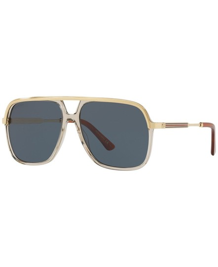Gucci Gucci Sunglasses GG0200S 004 Clear Brown Gold Frame Blue Lenses 57mm Image 4