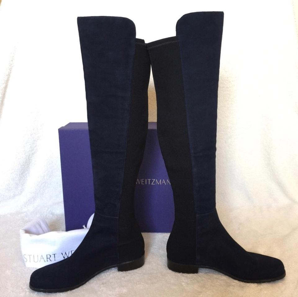 Suede Over Blue Booties Weitzman Nice Knee The Stuart Boots 5050 tq0Hxfaanw