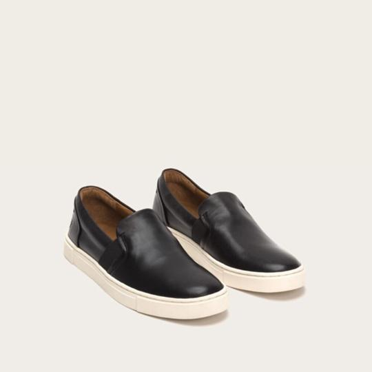Frye Leather Slip On Sneakers Classic Comfort Black Athletic Image 6