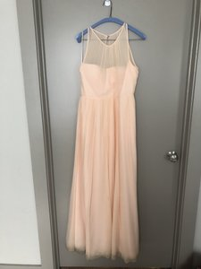 J.Crew Soft Peach Chiffon Megan Traditional Bridesmaid/Mob Dress Size 10 (M)