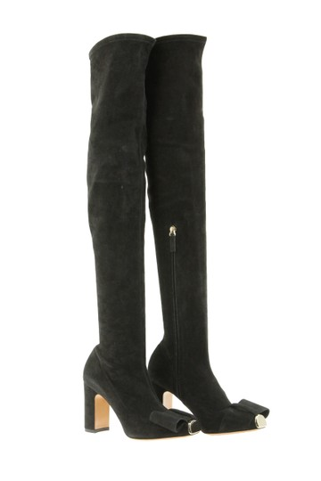 Valentino Suede Metal Cap Toe Thigh High Black Boots
