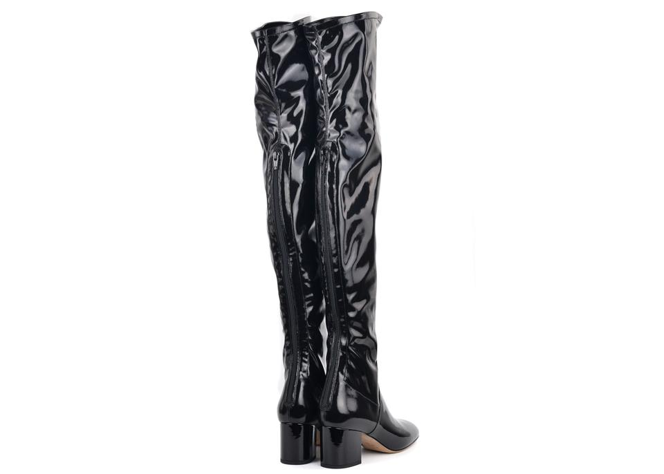 30546688914 Valentino Black Patent Leather Thigh High Boots Booties Size US 7 ...