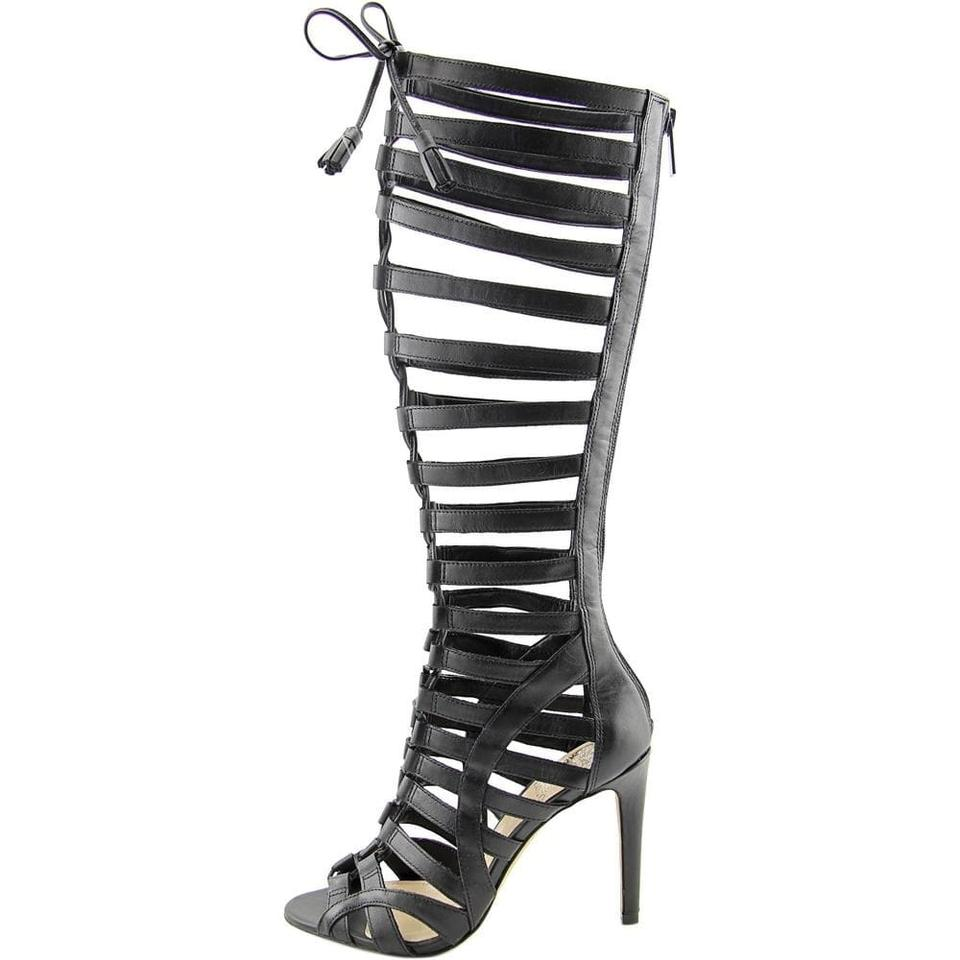 da8747b667f0 Vince Camuto Black New Olivian Tall Lace Up Gladiator Leather Sandals