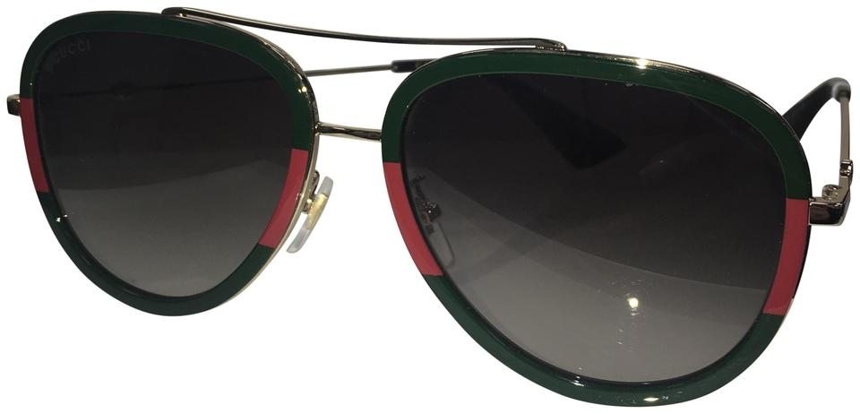 6278558326 Gucci Gold Green Red Tortoise-003 Women s Gg 0062s 003 Pilot ...