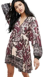 Free People short dress Longsleeve Floral Print V-neck on Tradesy
