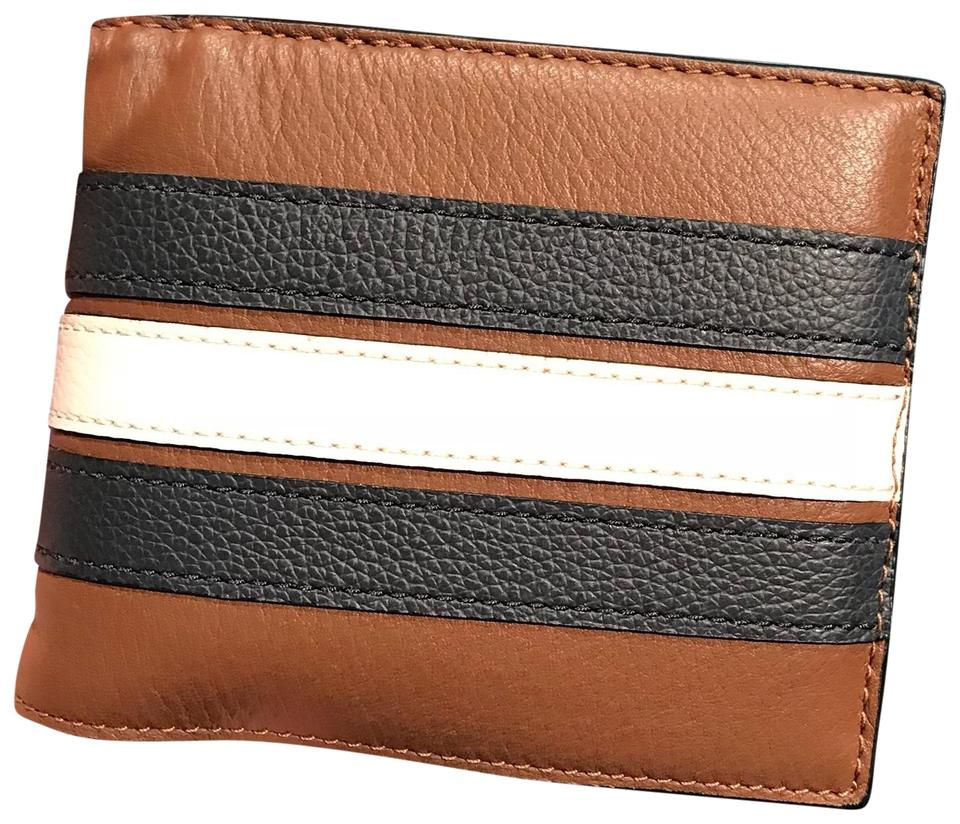 01a7800a94bc Coach Brown Saddle New Men s F24649 3 In 1 Varsity Stripe Leather Navy  Chalk Wallet