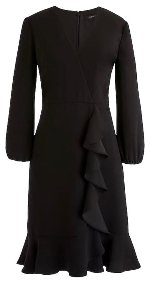 Crew Front J Cocktail Dress Ruffle Black Drapey avTx646qwU